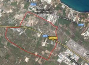 in rosso l'area che con il nuovo PUG dovrebbe diventare la futura zona industriale di Bisceglie, denominata anche Zona ASI
