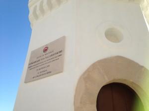 la torre della Dogana con la nuova targa commemorativa