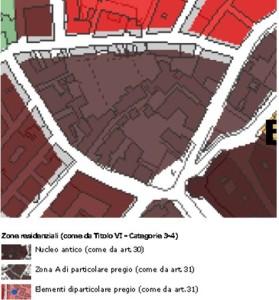 Figura 3. Stralcio estrapolato dal Piano Regolatore Generale (PRG) del 1977, strumento urbanistico ancora vigente