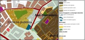 """Figura 2. Stralcio estrapolato dalla carta  SC 2.13 – Patrimonio Storico Urbano nell'ambito del """"Sistema della conoscenze"""""""